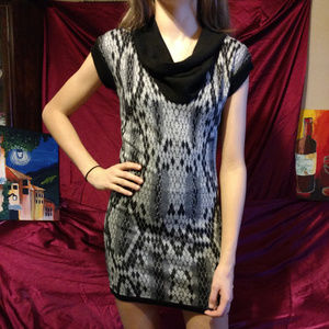 Body Central Gray And Black Sweater Dress